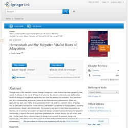 Homeostasis and the Forgotten Vitalist Roots of Adaptation - Springer