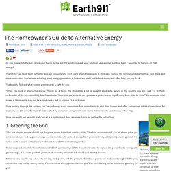 The Homeowner's Guide to Alternative Energy