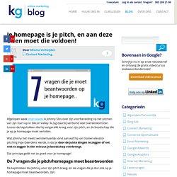 Je homepage is je pitch, welke verhaal vertel jij?