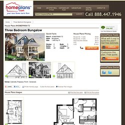 Home Plans HOMEPW08172 - 1,484 Square Feet, 3 Bedroom 2 Bathroom Bungalow Home with