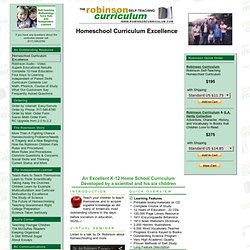 Homeschool Curriculum Excellence - Robinson Self-Teaching Homeschool Curriculum