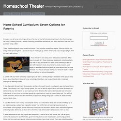 Homeschool Theater » Blog Archive » Home School Curriculum: Seven Options for Parents - Homeschool Planning doesn't have to be a production. :-)