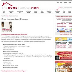 Free weekly planner | Menu planner | Homeschooling planner