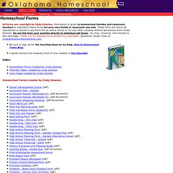 Free Homeschool Forms & Worksheets by Cindy Downes