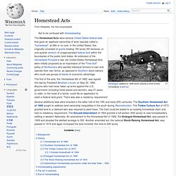 Homestead Acts, wikipedia