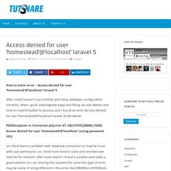 Access denied for user 'homestead'@'localhost' laravel 5