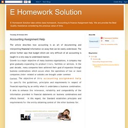 E Homework Solution: Accounting Assignment Help