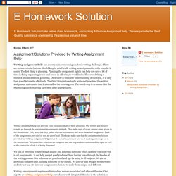 E Homework Solution: Assignment Solutions Provided by Writing Assignment Help