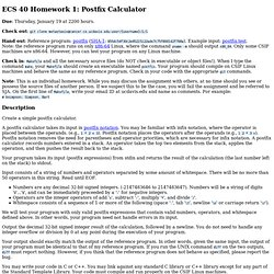 ECS 40 Homework 1: Postfix Calculator