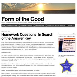 Homework Questions: In Search of the Answer Key