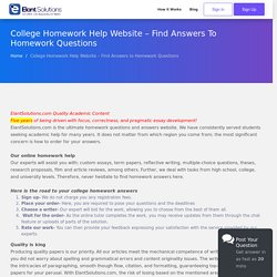 College Homework Help Website – Find Answers to Homework Questions - Elant Solutions
