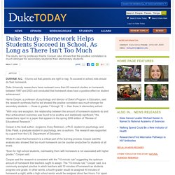 Duke Study: Homework Helps Students Succeed in School, As Long as There Isn't Too Much