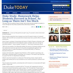 Duke study homework helps students succeed