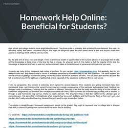 Homework Help Online: Beneficial for Students?