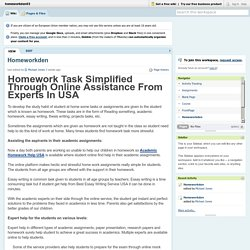 Homework Task Simplified Through Online Assistance From Experts In USA
