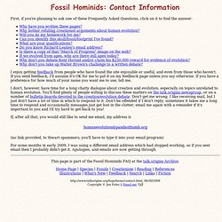 Fossil Hominids: Contact Information