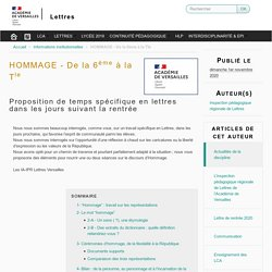 HOMMAGE - De la 6ème à la Tle - Lettres
