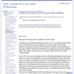 HOMMAGE AUX POILUS,AUX FUSILLES POUR L'EXEMPLE - Site consacré à la ville d'Outreau