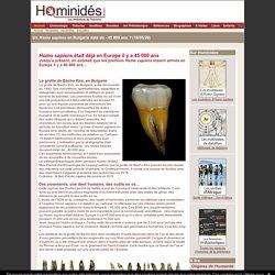Homo sapiens en Bulgarie 45 000 ans ?