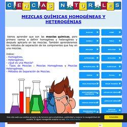 Mezclas Quimicas. Homogeneas y Heterogeneas. Separacion de Mezclas