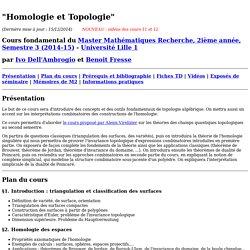 Homologie et Topologie - Master 2 Math (Lille 1)