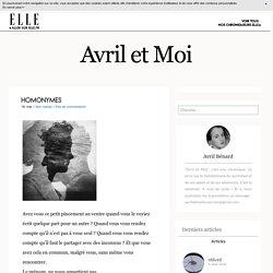 Homonymes - Avril et Moi