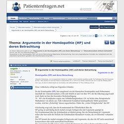 Argumente in der Homöopathie (HP) und deren Betrachtung