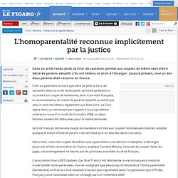 France : L'homoparentalité reconnue implicitement pa