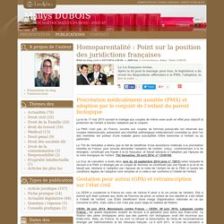 Homoparentalité : point sur la position des juridictions françaises - Maïlys dubois