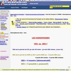Homophones Ses - Ces