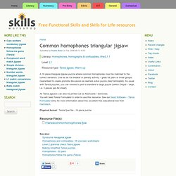 Common homophones triangular jigsaw