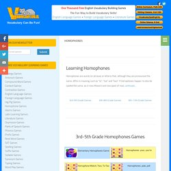 HomophonesVocabulary Games and Resources