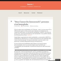 «Dans l'amour des homosexuels: personne n'est homophobe