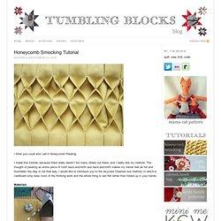 tumbling blocks: Honeycomb Smocking Tutorial
