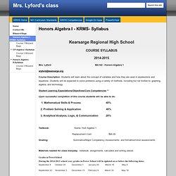 Honors Algebra I - KRMS- Syllabus - Mrs. Lyford's class