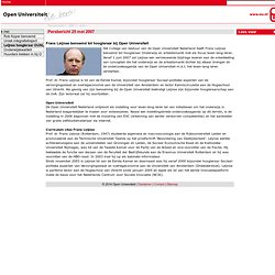 Frans Leijnse benoemd tot hoogleraar bij Open Universiteit - Open Universiteit