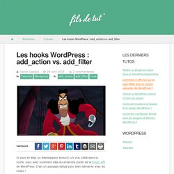 Les hooks WordPress : add_action vs. add_filter - Fils de tut'