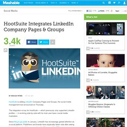 HootSuite Integrates LinkedIn Company Pages & Groups