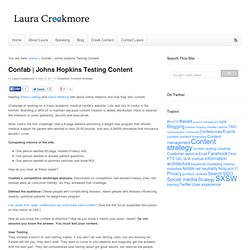 Confab | Johns Hopkins Testing Content « Laura Creekmore