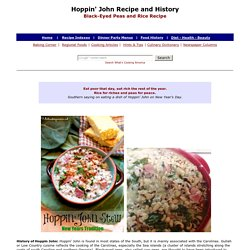 Hoppin' John Recipe and History, Black-Eyed Peas and Rice Recipe, New Years Day Food, Whats Cooking America