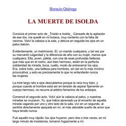 La Muerte De Isolda de Horacio Quiroga (texto completo)
