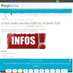Le Smic horaire sera fixé à 9,88 € au 1er janvier 2018 LégiSocial