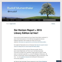 Der Horizon Report > 2015 Library Edition ist hier!