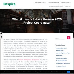 What it means to be a Horizon 2020 Project Coordinator - Enspire Science Ltd.