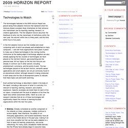 2009 Horizon Report » Technologies to Watch