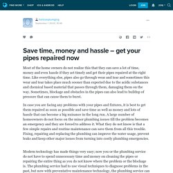 Save time, money and hassle – get your pipes repaired now: horizonplumging — LiveJournal