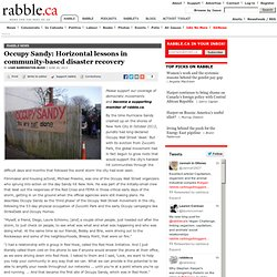 Occupy Sandy: Horizontal lessons in community-based disaster recovery