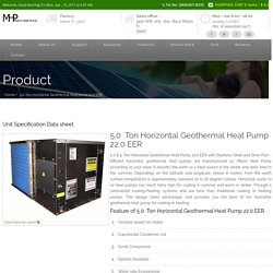 5.0 and 5 Ton Horizontal Geothermal heat pump 22.0 EER