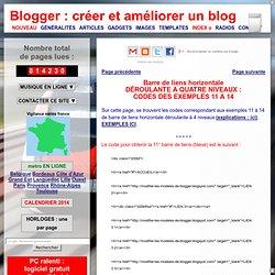 créer et améliorer un blog: barre de liens horizontale déroulante codes 5