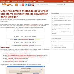 Une très simple méthode pour créer une Barre Horizontale de Navigation dans Blogger